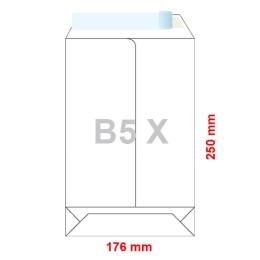 Obálky B5 X  176 x 250 mm dno tašky biele, samolepiace, krycia páska /250ks
