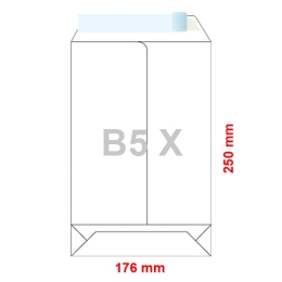 Obálky B5 X  176 x 250 mm dno tašky biele, samolepiace, krycia páska /10ks