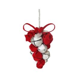 Dekorácia závesná - červeno/strieborné hrozno z rolničiek 10 cm, 1ks