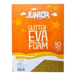 Dekoračná pena A4 EVA zlatá glitter hrúbka 2,0 mm, sada 10 ks