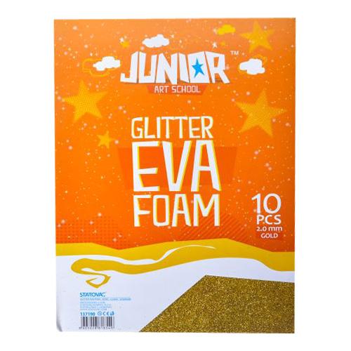 Dekoračná pena A4 EVA Glitter zlatá 2,0 mm, sada 10 ks