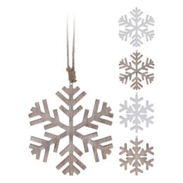 Vianočná ozdoba - drevená, vločka 19 cm, mix/1ks