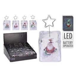 Dekorácia - vianočná s figúrkou na fotku, LED osvetlenie, 12 cm, mix/1ks
