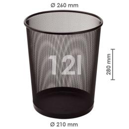 Drôtený kôš na odpadky, čierny 12 l