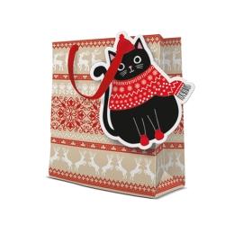 Darčeková taška PAW Xmas Cat, medium - 20x25x10 cm