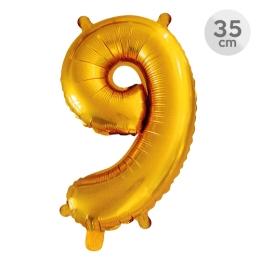 Balón narodeninový 35 cm - číslo 9, zlatý
