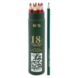 Pastelky šesťhranné M&G v puzdre, sada 18 ks
