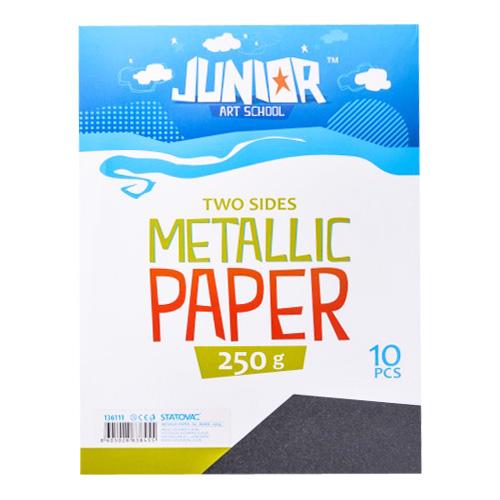 Dekoračný papier A4 Metallic čierny 250 g, sada 10 ks