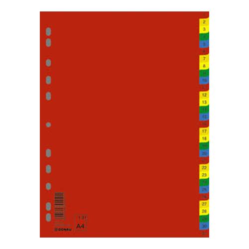 Register, plastový, A4, 1-31, DONAU, farebný