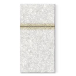Vrecká na príbory PAW AIRLAID 40x40cm Rococo white, 25 ks/bal