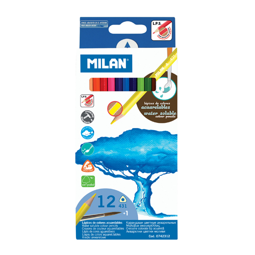 Pastelky MILAN trojhranné akvarelové 12 ks so štetcom