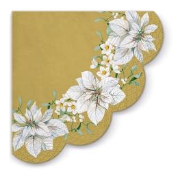 Obrúsky PAW R 32 cm White Poinsettia Gold