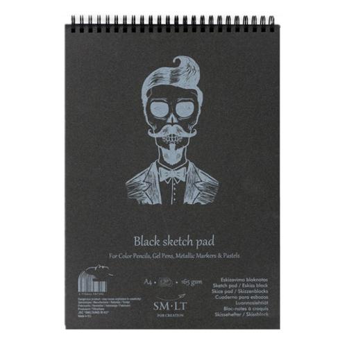 SMLT Skicár na maľbu - čierny A4, 165g, 30 l
