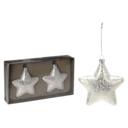 Vianočné ozdoby - PP strieborné - hviezdy 10 cm, sada 2ks