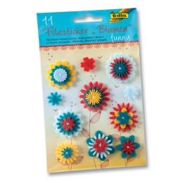 Plstné kvetinky lepiace 11 ks - Funny