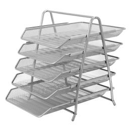 Drôtený stojan s 5 listovými zásuvkami, strieborný