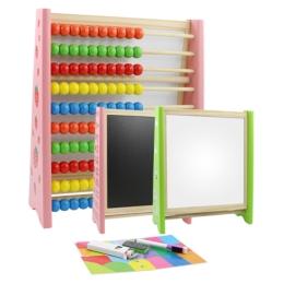 Multifunkčná tabuľa s počítadlom 25x30x9 cm  - drevená 3v1- mix 2 farieb