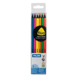Fluorescent triangular colour pencils MILAN 6 pcs