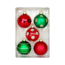Vianočné gule - sklenené 67 mm/červeno zelené, set 5ks