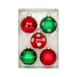 Vianočné gule - sklenené 67 mm/červeno zelené, sada 5ks