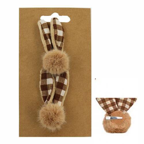 Dekorácia - Ušká zajačika na klipe 6x2x6 cm, sada 2 ks