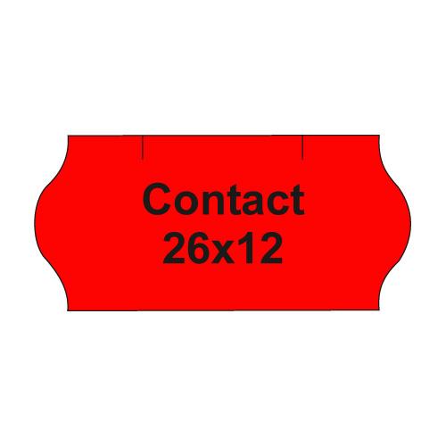 Etikety cen. CONTACT 26x12 oblé - 1500 etikiet/kotúčik, červené