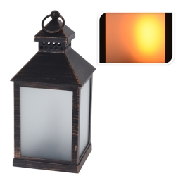 Lampáš s LED sviečkou/efekt reálneho plameňa/čierny 23 cm, 1ks