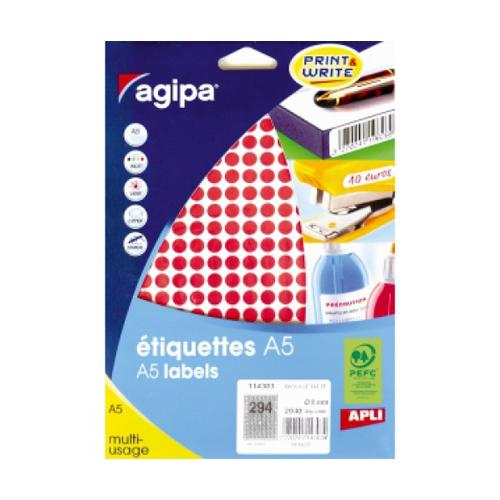 Etikety kruhové 8 mm Agipa A5 červené