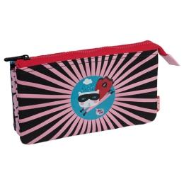 Puzdro na ceruzky MILAN Super Heroes - 5 vreckové, ružové