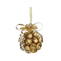 Dekorácia závesná - zlatá guľa z rolničiek 10 cm, 1ks