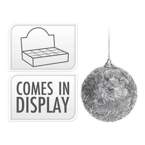 Vianočná guľa - PS strieborná 80 mm