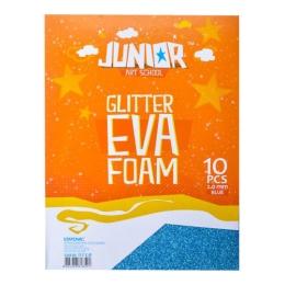 Dekoračná pena A4 EVA modrá glitter hrúbka 2,0 mm, sada 10 ks