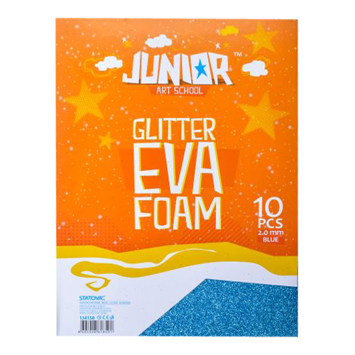 Dekoračná pena A4 EVA Glitter modrá 2,0 mm, sada 10 ks