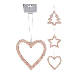 Dekorácia závesná - Vianočná ružovo/zlatá 9 cm, mix/1ks