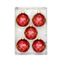 Vianočné gule - sklenené 67 mm/červeno zlaté, set 5ks
