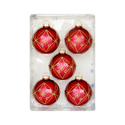 Vianočné gule - sklenené 67 mm/červeno zlaté, sada 5ks