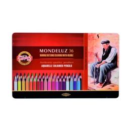 Pastelky KOH-I-NOOR Mondeluz, akvarelové, sada 36 ks v plech. boxe