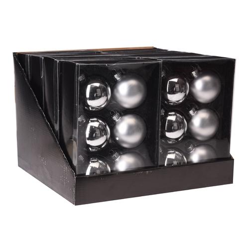 Vianočné gule - sklenené, strieborné 65 mm, set 6ks