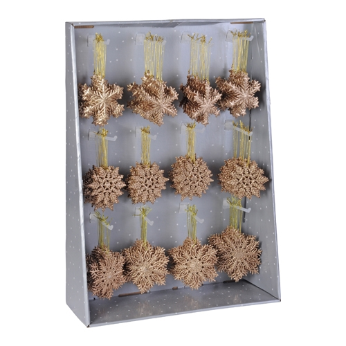 Vianočná ozdoba - PP vločka medená - rôzne tvary 10 cm, 1ks