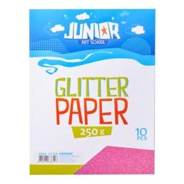 Dekoračný papier A4 ružový glitter 250 g, sada 10 ks