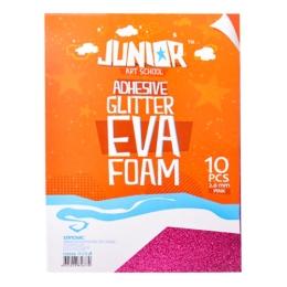 Dekoračná pena A4 EVA ružová samolepiaca glitter 2,0 mm, sada 10 ks