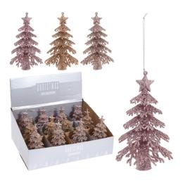 Vianočné ozdoby - PS vianočný stromček ružovo/zlatý 16 cm, mix/1ks