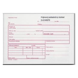 Príjmový pokladničný doklad pre rozpočtové organizácie, číslovaný s 2 potvrdenkami,