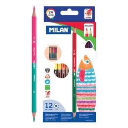 Pastelky MILAN dvojfarebné trojhranné 12ks