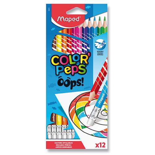 "Pastelky trojhranné MAPED ""COLOR'PEPS OOPS"" s gumou sada 12 ks"
