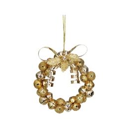 Dekorácia závesná - zlatý kruh z rolničiek 9 cm, 1ks
