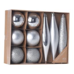 Vianočné ozdoby - PP strieborné - rôzne tvary 4-14 cm, sada 9ks