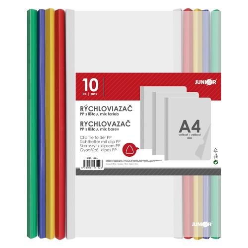 Rýchloviazač s farebnou lištou PP/A4, sada 10 ks