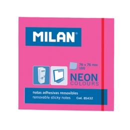 Blok lep NEON MILAN 76 x 76 mm - ružový