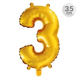 Balón narodeninový 35 cm - číslo 3, zlatý